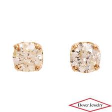 Estate 1.06ct Diamond 14K Yellow Gold Stud Earrings NR
