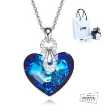 Collana Donna Cuore Blu Oceano Cristallo SWAROVSKI Elements Originale Oro Bianco