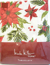 Nicole Miller Cotton Tablecloth Christmas Poinsettia 60 x 120 - NEW