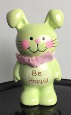 "vintage1983 Enesco Easter bunny rabbit mini figurine ""Be Hoppy"" green & pink"