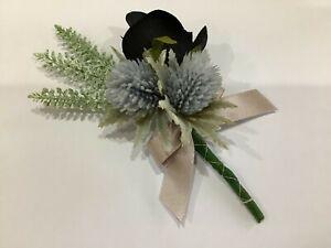 Wedding Buttonhole~Artificial Silk Black Rosebud~Lilac Thistles~White Heather
