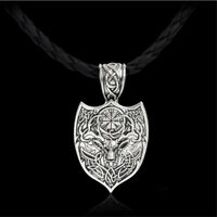 Men Viking Pendant Necklace Deer Symbol Slavic Wheel Nordic Amulet Pagan Jewelry