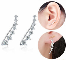 Ear Crawler Earrings Crystal 14k White Gold Vine Rhinestone Ear Climber Jewelry