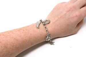 A Nice Vintage Sterling Silver 925 Dower Hall Charm Bracelet x7 Charms #31687