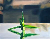 """Framed Origami Crane Oil Painting, Realism, (11x14"""") Contemporary Modern Art"""