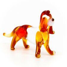 Hand Blown Art Glass Dog Figurine, Red Handmade Pet Animal Miniature Figure
