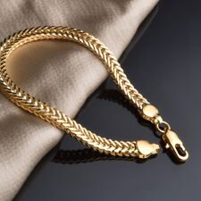18K Yellow Gold Plating Bracelet Bangle Chain Fashion Women Men Punk Jewelry