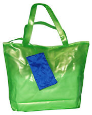 "LADIES Green Shopper Zipped Bag With Purse Attached 16""L x 12""H x 4""D"
