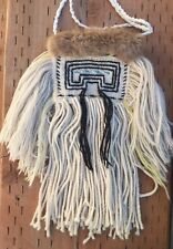 Early Vintage Double Sided Tlingit Chilkat Woven Raven's Tail Bag Rare