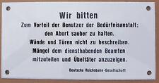 Wir bitten Schild saubere Toilette Bad WC - Emailschild Bahn DB Bundesbahn Email