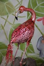 Figure Statue De Jardin Flamant Metal Fer Style Ancien Animaux Figurine Oiseaux