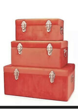 BundleBerry by Amanda Holden Set of 3 Velvet Touch Trunks Deep Coral New Rrp£120