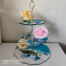 3 Tier Floral Resin Cake Stand Tableware Display Party Birthday Dessert Plates