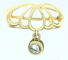 Solid 14k Yellow Gold *on sale Cubic Zircon Umbrella Design Adjustable Toe Ring