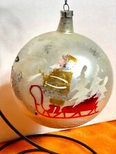 Antique Large Mercury Glass Christmas Ornament Gold Santa And Sleigh