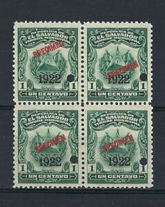 El Salvador 1922 Specimen 1 centavo Revenue municipal block 4 MNH
