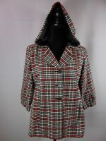 Volcom Plaid Hooded Button Front 3/4 Slv Jacket Coat Women's L Cotton Poly Lined