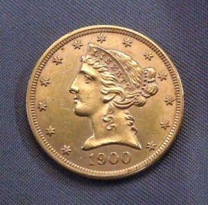 1900 - P Gold $5.00 Liberty Head Half Eagle | High Quality Details