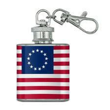 Betsy Ross 1776 American Flag Stainless Steel 1oz Mini Flask Key Chain