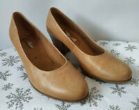"""Gabor Tan Leather Court Shoes Stacked 2.5"""" Heel Variegated Semi Round UK 4 EU 37"""