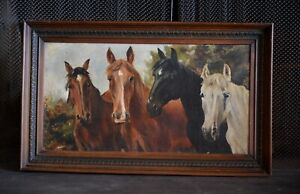 Antique Oil Painting with Original Carved Wooden Frame - 4 Horses - Signed