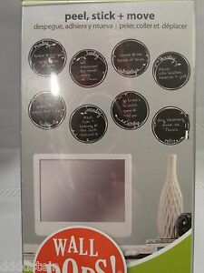 NEW WALL POPS WORDS - WEEKLY CALENDAR BLACK DOTS QUOTES PEEL & STICK - DRY ERASE