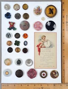 Card of 30 Assorted Antique to Modern BUTTONS #4, Various Types, Ages, Materials