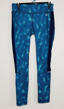AVIA Womens Wavy Patterned Navy & Teal Green Gym Sports Pants Leggings Size S