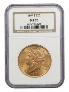 1894-S $20 NGC MS62 - Liberty Double Eagle - Gold Coin