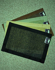 SET OF 4 WOVEN PLACEMATS /COTTON TRIM / CHOOSE BLACK/TAN/ OR BROWN/ NWT