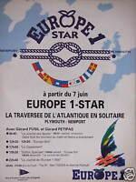 PUBLICITÉ 1992 EUROPE 1 STAR LA TRAVERSÉE DE L'ATLANTIQUE EN SOLITAIRE PLYMOUTH