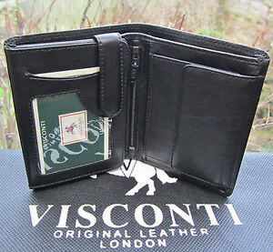 Mens RFID Visconti Wallet Quality Soft Real Leather Black New in Gift Box HT11