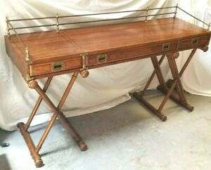 Vintage Oxford Square By Drexel Campaign Safari Style Writing Computer Desk