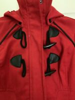 Girls Red Hooded  Dress Coat Jacket Sz Medium 8/10 Toggle Buttons