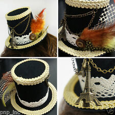 Victorian Lolita Paris Can Can Saloon Girl Black Mini Top Hat Lace Eiffel Tower