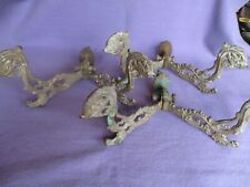 3 Large Cast Iron Dolphin Head Hooks Victorian For Mirror Or Hall Seat