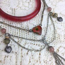 Vintage 70s Pressed Flower Heart Hippie Necklace Gypsy Beads Glass Bracelet LOT