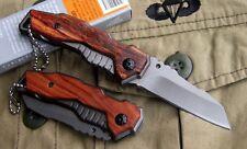 Couteau Compact Pliant de Poche GERBER Lame Acier 6,5 cm Manche Bois Gravé 8,5cm