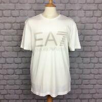 EA7 EMPORIO ARMANI MENS INT XL CREAM LOGO WHITE T-SHIRT TSHIRT TEE DESIGNER