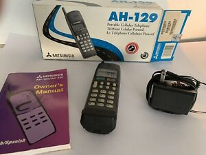 Vintage Mitsubishi AH-129 Portable Cellular Cell Phone MT-1296FOR6A Parts Only