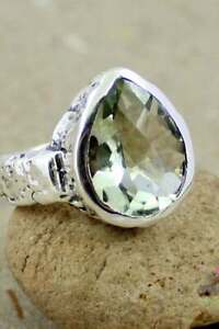 SOLID 925 STERLING SILVER FATHER GIFT GREEN AMETHYST GEMSTONE MENS RING JEWELRY