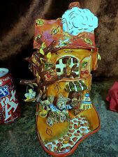 Rare 2001 Blue Sky 3D Autumn Cherry Tree Goldminc Tea Light Candle Holder House!