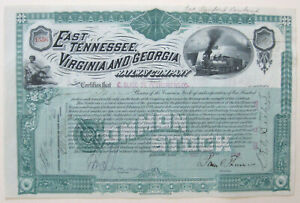 East Tennessee Virginia & Georgia  Railroad Stock 1886