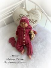 """Alyssum"" Romper Set knitting pattern for Reborn doll 16 -22"" or 0-3 Mth Baby"