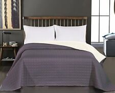 Luxury Grey Quilted Bedspread Comforter Throw Size 240 x 260 cm Fits King Bed