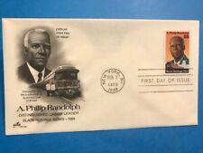 #2402 1989 Artcraft 25c FDC M002 A Philip Randolph Labor Leaders Black Heritage