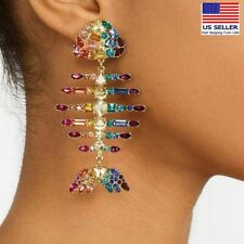 Fashion Women Crystal Jewelry Earrings Big Gold Fish Bone Style Studs