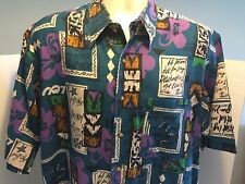 Ike Behar Blue &Purple Caved Tiki Totem Calligraphy Art Print Button Camp Shirt