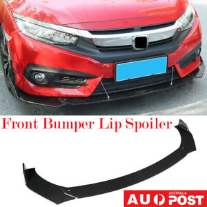 3Pcs Universal Car ABS Front Bumper Protector Guard Lip Spoiler Wing Body Kit BK