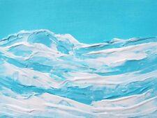 "BABY BLUE OCEAN Acrylic Painting 9""x12"" Seascape Palette Knife Julia Garcia Art"
